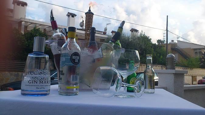 Gin Tonic <br> Mesa de gin tonic y aperitivos en la terraza del restaurante la Palmera de la Llosa